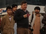 Pervez Hoodbhoy addressing the protest in Islamabad. PHOTO: @IOPYNE