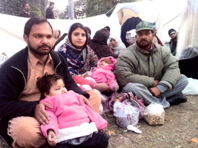 The family has participated in the sit-in against glaring odds. PHOTO: EXPRESS
