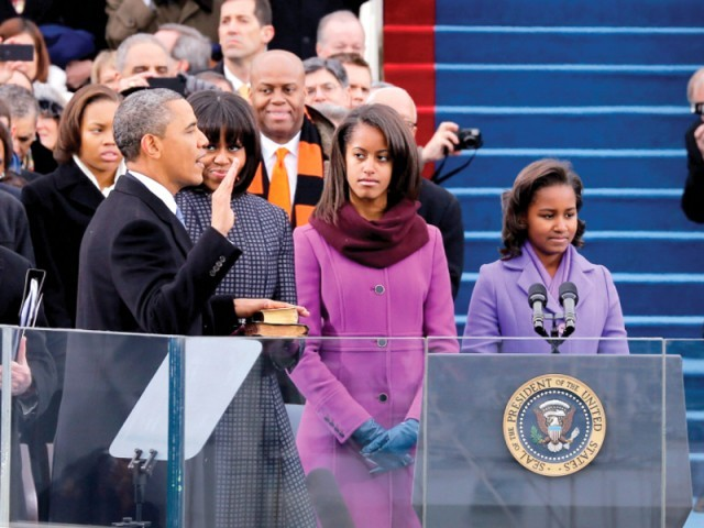 Barack Obama takes oath for a second term. PHOTO: AFP