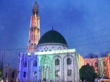 A mosque on Mall Road, Lahore illuminated as twilight descends on the eve of Eid Miladun Nabi. PHOTO: APP