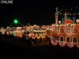 A mosque and other adjoining buildings illuminated ahead of Eid Miladun Nabi in Rawalpindi. PHOTO: ONLINE