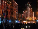 Buildings in Rawalpindi decked out in decorative lighting ahead of Eid Miladun Nabi. PHOTO: ONLINE