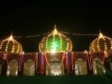 New Memon Mosque in Karachi illuminated on account of Eid Miladun Nabi. PHOTO: PPI