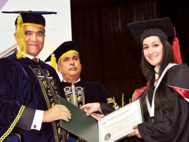 Chief of Naval Staff Admiral Asif Sandila awards a degree to a student. PHOTO: ONLINE