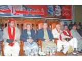 ANP's senior leadership attends slain leader Bashir Ahmed Bilour's chelum at Nishtar Hall, Peshawar. PHOTO: EXPRESS