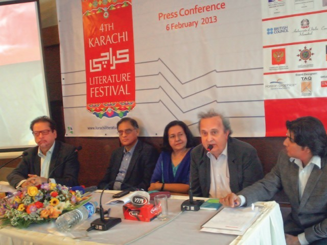 (From left to right) Arts Council president Ahmed Shah, writer Asif Farrukhi, OUP managing director Ameena Saiyid, Goethe Institut director Dr Manuel Negwer and moderator Ahsan Raza Firdousi at the pre-launch event of the fourth Karachi Literature Festival on Wednesday. PHOTO: ATHAR KHAN/EXPRESS