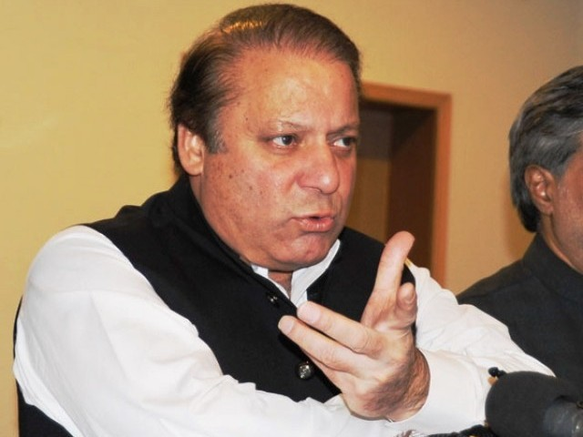 A file photo of PML-N chief Nawaz Sharif during a press conference. PHOTO: SANA/FILE