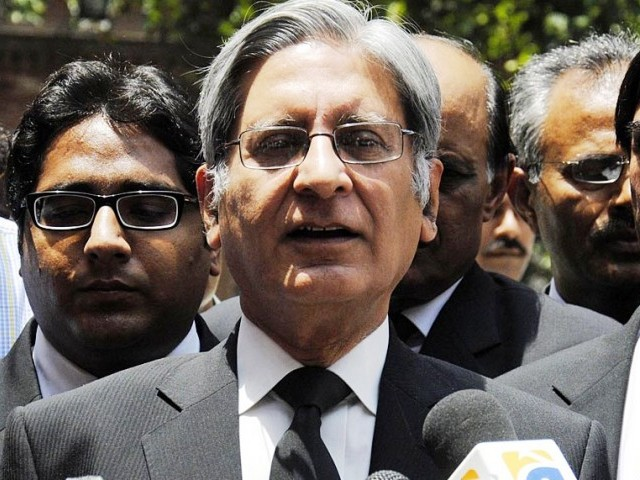 Aitzaz Ahsan speaks for ECP. PHOTO: ONLINE