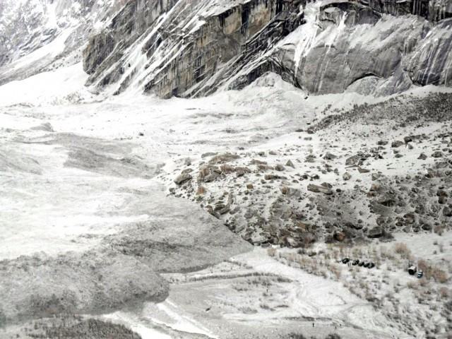 File photo shows an aerial view of troops searching for avalanche victims including 124 soldiers during a rescue operation on the Siachen Glacier mountains. PHOTO: AFP/ FILE