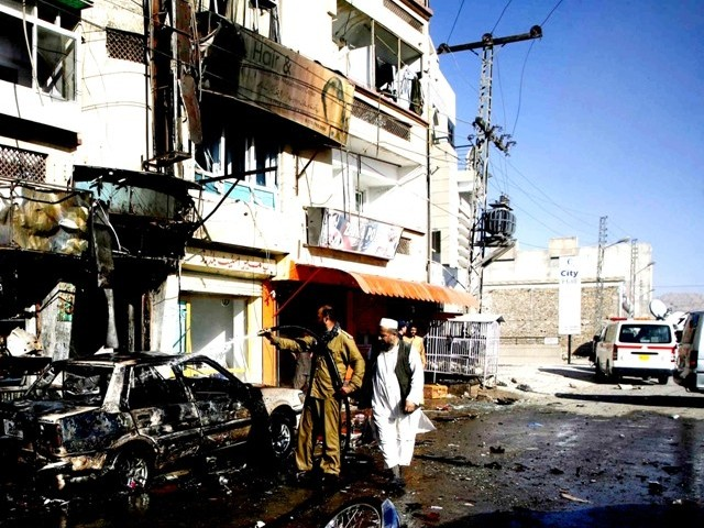 A file photo of a blast in Quetta city. PHOTO: REUTERS