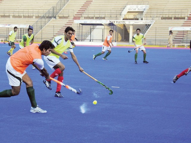 National hockey players have voiced out their disappointment with the Pakistan Hockey Federation for installing the blue turf too late. PHOTO: ONLINE