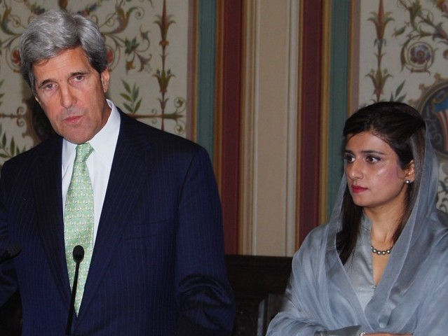 This file photo shows John Kerry and Hina Rabbani Khar at the Pakistan Embassy in Washington. PHOTO: COURTESY PAKISTAN EMBASSY/FILE