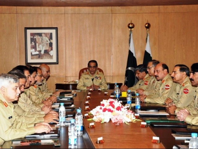 File photo of Corps commander meeting.  PHOTO: AFP/FILE