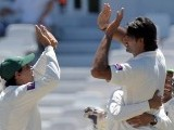 Muhammad Irfan celebrates the wicket of South African cricketer AB de Villiers on Day 3 of the second Test between South Africa and Pakistan at Newlands in Cape Town, on February 16, 2013. PHOTO: AFP
