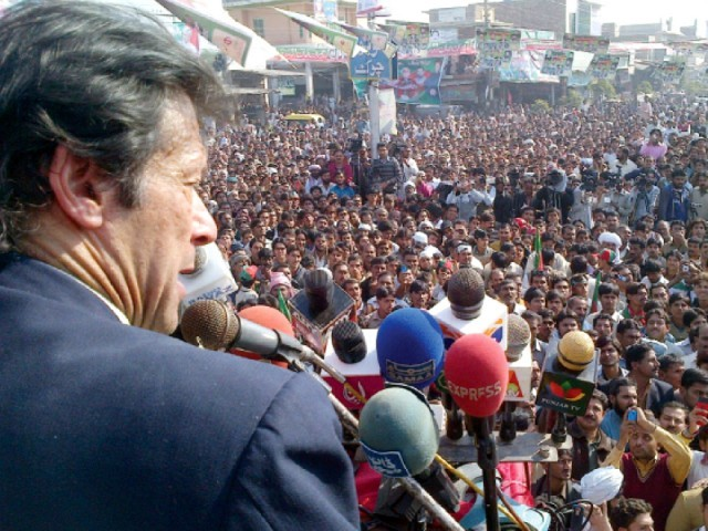 A file photo showing PTI chief Irman Khan addressing a rally. PHOTO: INP