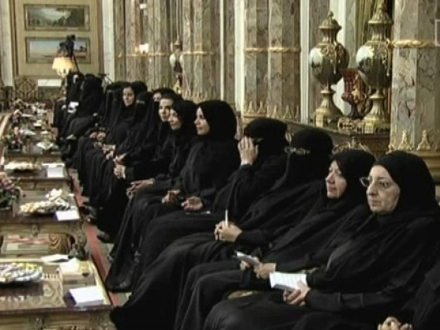 This television grab shows women members of Saudi Arabia's Shura Council. PHOTO: AL ARABIYA