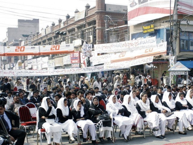Lawyers protesting at the District Council Chowk.