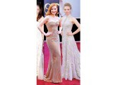 Soft pastel hues seen on Jessica Chastain and Amanda Seyfried