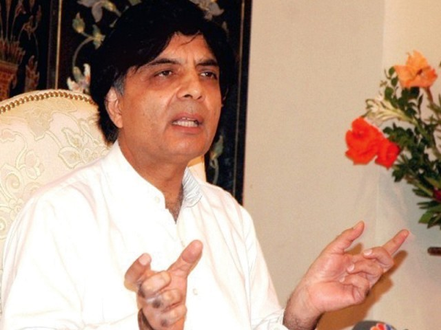 PML-N leader Chaudhry Nisar Ali Khan. PHOTO: FILE