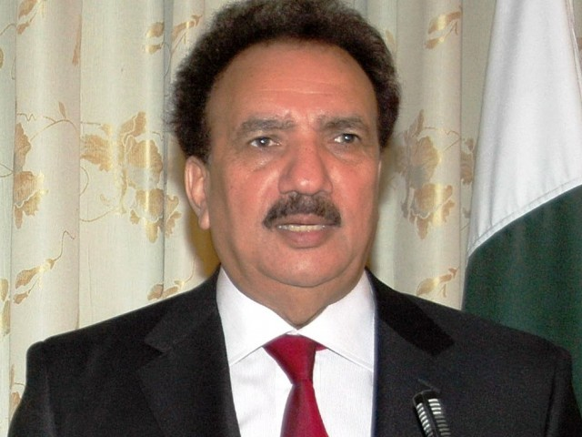 Interior minister Rehman Malik speaking to media in Islamabad. PHOTO: PID