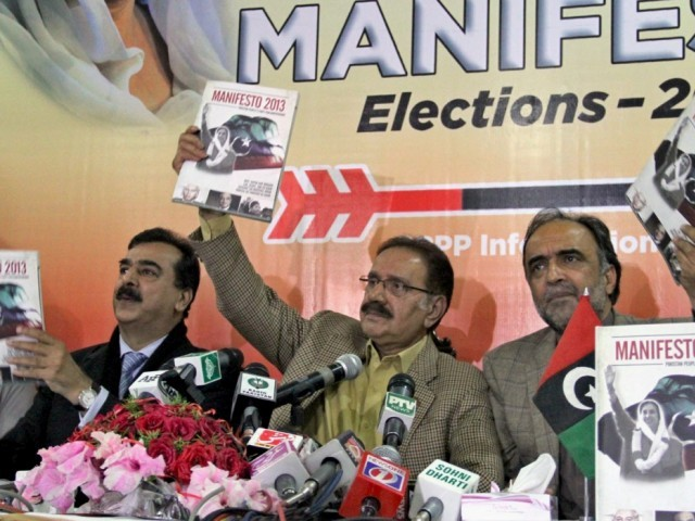 The manifesto was released by the party president Makhdoom Amin Fahim at a press conference on Thursday. PHOTO: INP