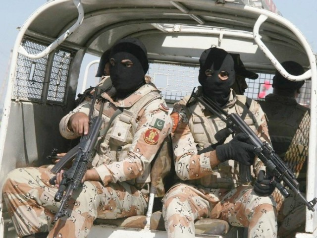 Rangers in Karachi carrying out an operation in the city. PHOTO: EXPRESS/FILE