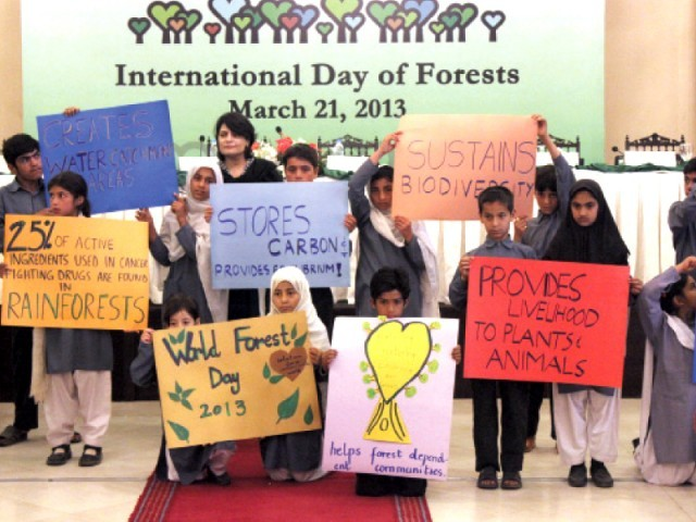 Schoolchildren presented the advantages of having forests in a creative way. PHOTO: WAQAS NAEEM/EXPRESS