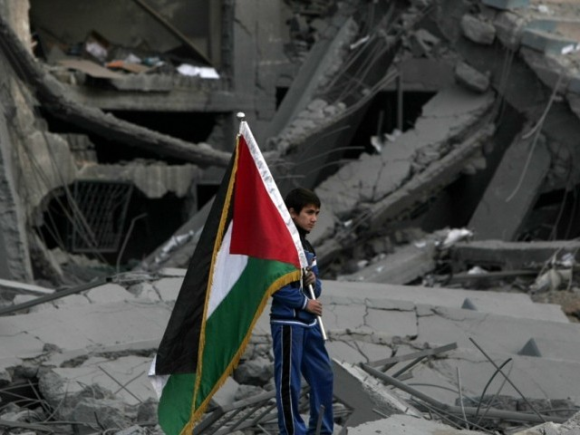 A Palestinian boy carries the national flag as he makes his way through the debris of the destroyed Palestine Sports Stadium in Gaza City on November 22, 2012, after a ceasefire took hold in and around Gaza after a week of cross-border violence between Israel and Palestinian militants that killed at least 160 people.  PHOTO: AFP