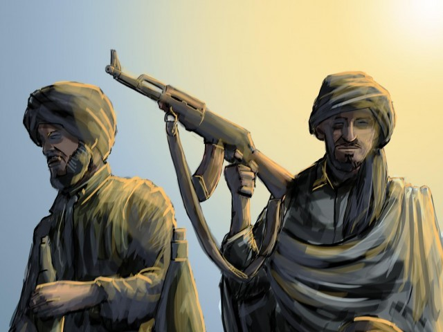 Hundreds of people moved away from Tirah Valley when TTP captured it from AI militants after days of intense clashes. ILLUSTRATION: JAMAL KHURSHID/FILE