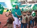 Children marching in a parade to celebrate Pakistan Day. PHOTO: MUHAMMAD JAVAID/MYRA IQBAL/EXPRESS