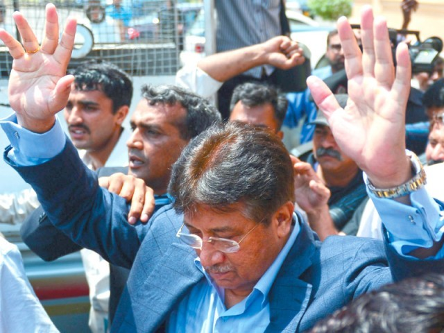 General (retd) Pervez Musharraf outside the Sindh High Court. PHOTO: AFP