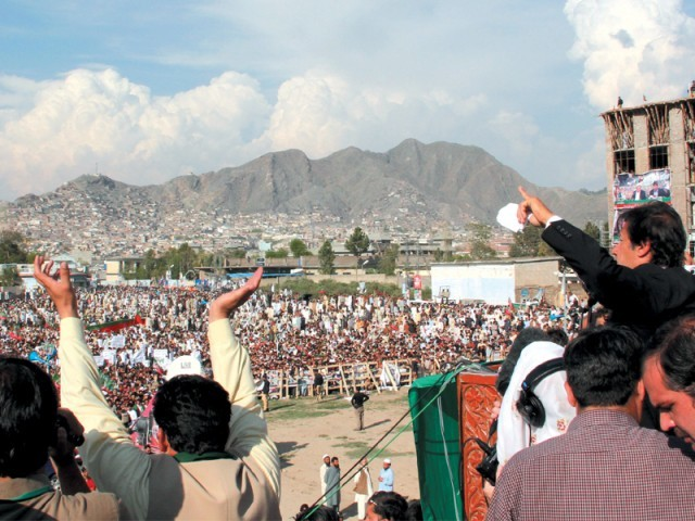 PTI chief Imran Khan addressing a public gathering in Swat on Sunday. PHOTO: EXPRESS