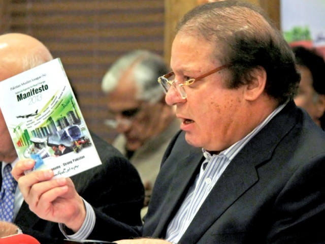 PML-N chief Nawaz Sharif talks to the media. PHOTO: AFP/FILE
