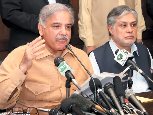 Shahbaz Sharif addresses the media in Lahore. PHOTO: INP