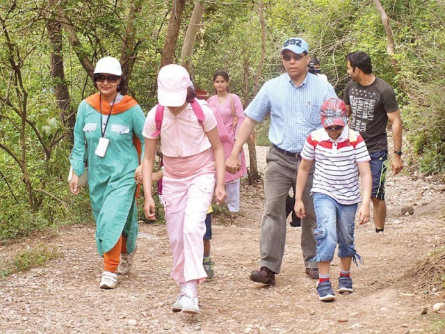 A group of hikers ascending Trail 3 to celebrate World Health Day. PHOTO: APP