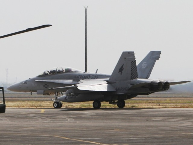 A US Marine Corps F/A-18 Hornet jet fighter, before taking-off, during an Air Operations and Aircraft Static Display in US-Philippines military exercise in Manila April 13, 2013. PHOTO: REUTERS