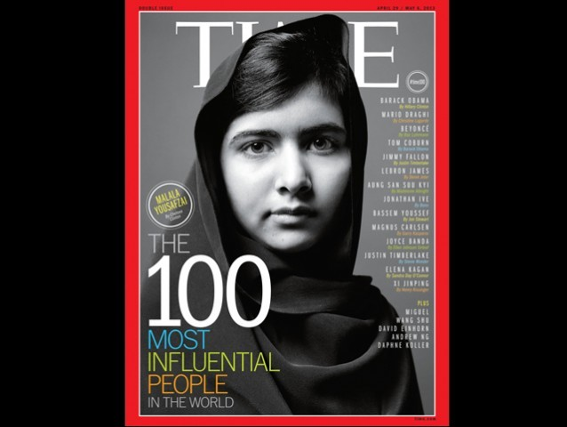 Teenage education activist Malala Yousufzai has been named alongside the Duchess of Cambridge Kate Middleton and US first lady Michelle Obama. PHOTO: TIME