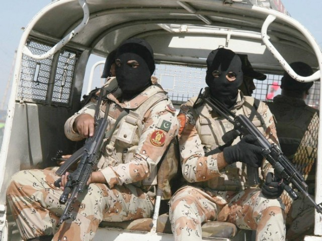 Rangers in Karachi carrying out an operation. PHOTO: EXPRESS/FILE