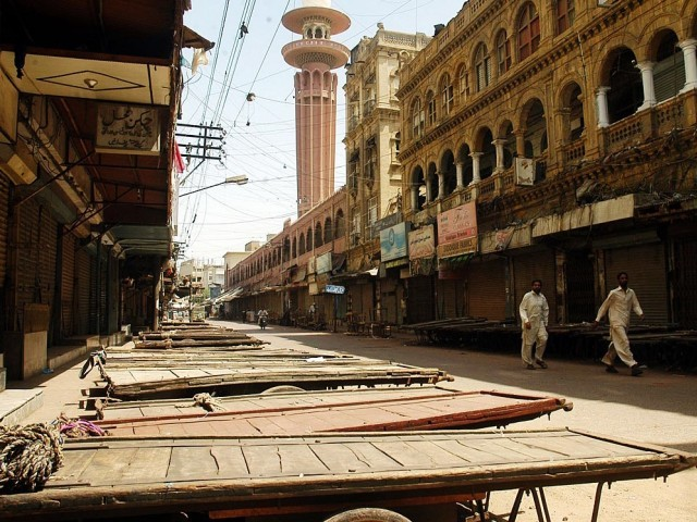 A file photo of Karachi during a strike. PHOTO: ONLINE/ FILE
