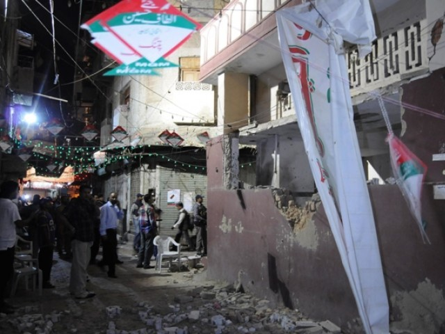 The damaged wall of the mosque where the bomb blast hit. PHOTO: MOHAMMAD NOMAN/EXPRESS