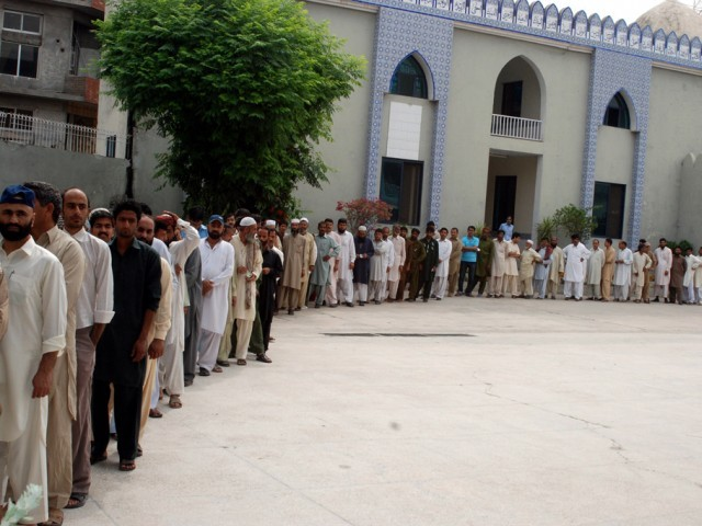 At some polling stations, the turnout was well over 60 per cent, with some reports listing turnout as high as 75%. PHOTO: Zafar Aslam