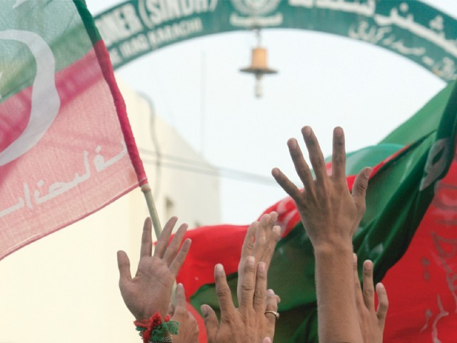 PTI won its first seat in the Sindh Assembly. PHOTO: ATHAR KHAN/EXPRESS