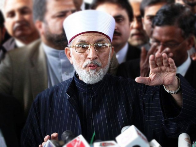 Dr Tahirul Qadri says that the Election Commission of Pakistan has held this general election by design. PHOTO: ONLINE/ FILE