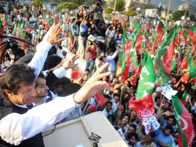 PTI chairman addressing a rally. PHOTO: QASIM USMAN/FILE