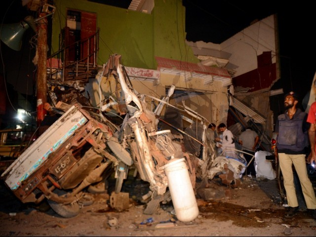 The site of the blast targeting ANP candidate Bashir Jan in Karachi. PHOTO: AFP