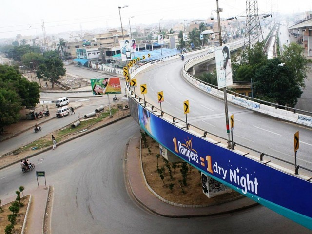 A file photo showing deserted roads of Karachi during a strike. PHOTO: ONLINE