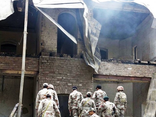 Militants from the Balochistan Liberation Army  destroyed the Ziarat Residency, where Quaid-e-Azam Muhammad Ali Jinnah spent his last days. PHOTO: INP