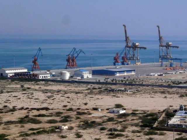 This photograph taken on February 12, 2013 shows the construction site at Gwadar port in the Arabian Sea. PHOTO: AFP