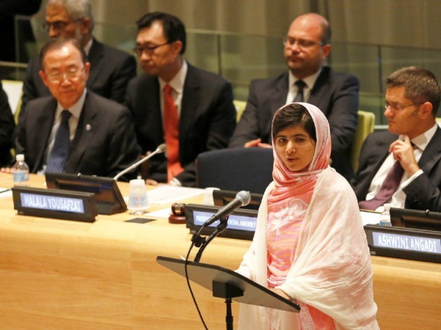 Malala Yousafzai makes an address at the UN headquarters in New York. PHOTO: REUTERS