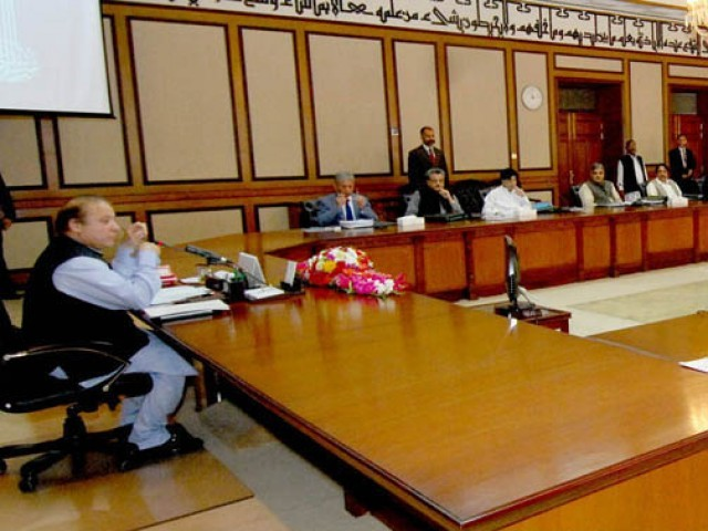 Prime Minister Nawaz Sharif Chairing The Meeting Of Federal Cabinet At The  PMu0027s Office. PHOTO